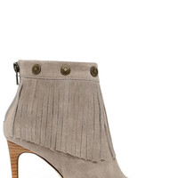 Very Volatile Massy Grey Suede Leather High Heel Fringe Booties