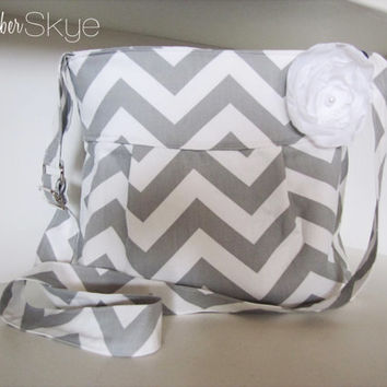 Folklore handbag - Gray and white chevron purse- Adjustable Crossbody Handbag