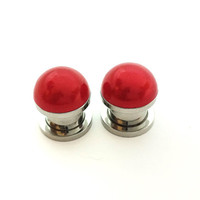 Red pearl plugs / 2g, 0g, 00g, 1/2 inch / wedding plugs / pearl gauges / bridesmaid jewelry / red plugs / red gauges