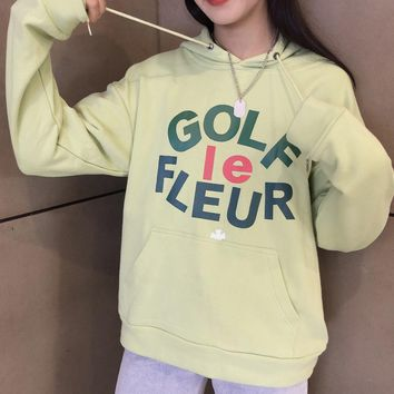 HCXX 19Aug 348 Converse x Golf Le Fleur Cotton Hooded Sweater Green
