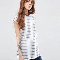 ASOS Boyfriend T-Shirt In Stripe With Contrast Neck
