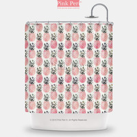 watercolor pink pineapple pattern shower curtain home u0026 living bathroom 207
