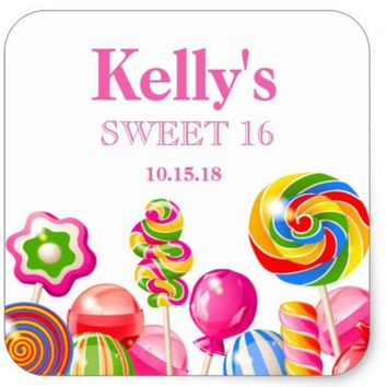 1.5inch Candyland candy Theme Sweet 16 Favor Labels Square Sticker 1