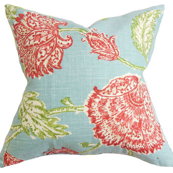 Floral 18x18 Linen-Blended Pillow, Aqua, Decorative Pillows