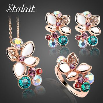 Fashion Multi Color Flower Crystal Rhinestone Gold Color Pendant Necklace Earring Ring Bridal Jewelry Set For Women Wedding