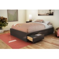 Full Size Modern Storage Bed with 3 Drawers in Chocolate Finish