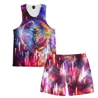 Astronaut Power Tank and Shorts Rave Combo