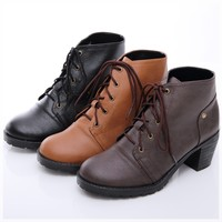 BN Womens Moto Lace Ups Chunky Heels Oxfords Shoes Boots Booties BROWN BLK
