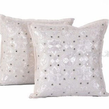"Indian White 16"" Set of 2 PC Pillow Cushion Cover Embroidered Cotton Decor Art"