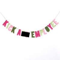 Kick A** Employee felt banner, cubicle banner, employee award in fuchsia, pink, green and mint