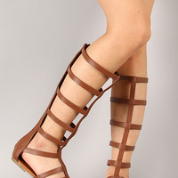 Soda Leatherette Strappy Gladiator Knee High Flat Sandal
