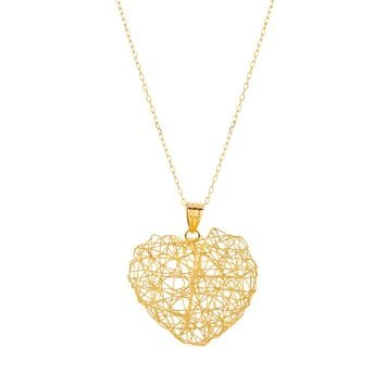 """14k Yellow Gold Cable Chain Wire Mesh Heart Necklace, 18"""""""