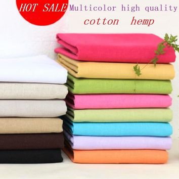 DIY pure color cotton hemp cloth colorful linen fabric tablecloth curtain background decorative cloth handmade cloth Multicolor