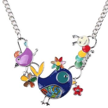 Statement Enamel Bird Caterpillar Necklace Charm Metal Alloy Chain Pendant New Jewelry For Women Collar Accessories