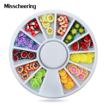 Nail Art Decoration Fruit Slices 3d Polymer Clay Tiny Fimo Design Wheel Nail Rhinestone Acrylic Manicure Beauty Accessories