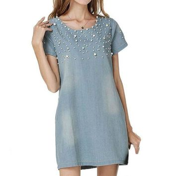 PEAPOK8 Plus Size 4XL Casual Jeans Sundress Women's  Denim Dress vestidos feminina Summer Style Beaded Party Dresses LL2
