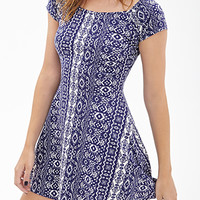 FOREVER 21 Tribal Print A-Line Dress Navy/White Medium