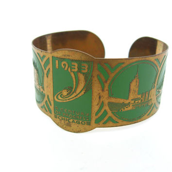 Art Deco Bracelet. Chicago Worlds Fair 1933 Century of Progress. Vintage Green Enamel Souvenir Cuff. 1930s Art Deco Jewelry.