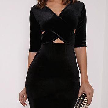 Black Velvet Cross Front Cut Out Half Sleeve Bodycon Dress