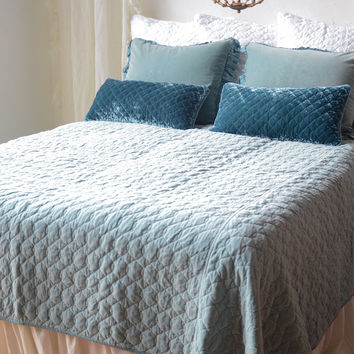 Velvet Quilted Coverlet with Satin Back in PACIFIC