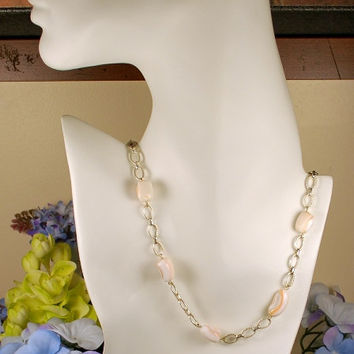 "18"" pink and white freshwater pearl nugget necklace with 9"" pink and white pearl nugget bracelet, nugget set, .925 sterling stamp link chain"
