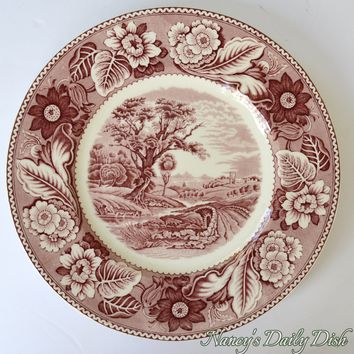 Vintage Red English Transferware Plate Woods Woodland Pastoral Winding River Scene