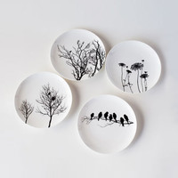Naturescape Bone China Plates - Set of 4