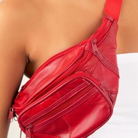 Leather Vintage Fanny Pack- Red