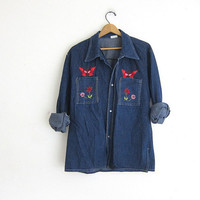 Vintage butterfly Jean shirt. Embroidered denim shirt. Boho Ethnic Hippie Top.