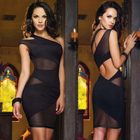 One Shoulder Cut Out Mesh Mini Dress