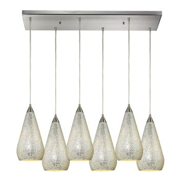 Curvalo 6 Light Pendant Satin Nickel Silver Crackle Glass