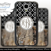 Monogram Galaxy S4 case S5 Real Tree Camo Black Browning Quatrefoil Personalized RealTree Samsung Galaxy S3 Case Note 2 3 Cover