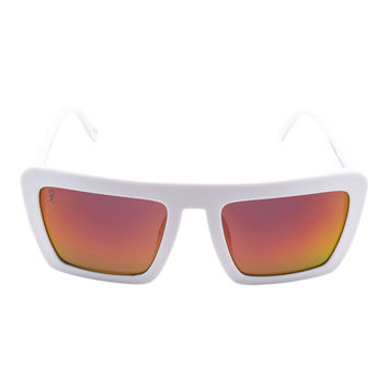 Benson - Sunrise - White with Orange Mirrored Lens Oversized Square Wayfarer