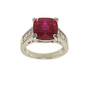 Special Cushion Cut Synthetic Ruby and Channel Set Clear Cubic Zirconia Silvertone Cocktail Ring