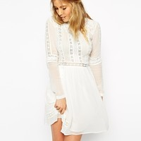 ASOS Premium Crochet Skater Dress with High Neck
