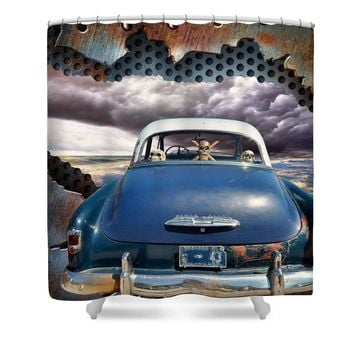 Power Glide Riding The Storm Shower Curtain for Sale by Liane Wright