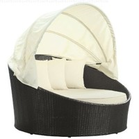 LexMod Siesta Outdoor Wicker Patio Canopy Bed in Espresso with White Cushions