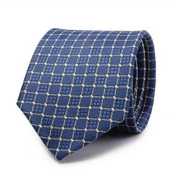 White Squares with Rounded Corners on Blue Tie