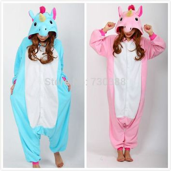 LMFUS4 Christmas Halloween Blue/Pink Candy Unicorn Onesuit Carnival Costumes for Adults Women Men Fleece Party Pajamas Dresses Sleepwear