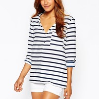 J.D.Y Stripe 3/4 Sleeve Top at asos.com