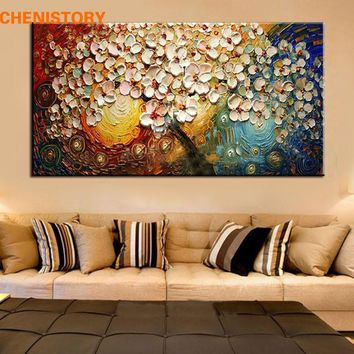 unframed Handpainted Canvas Wall Art Abstract Painting Modern Acrylic Flowers Palette Knife Oil Painting for Home Decoration