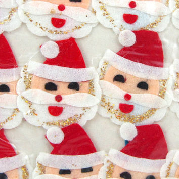 Stretchy Santas - Vintage Christmas Package Decorations, 50s Elastic Smiling Santa Faces, Set of 4 Still Sealed Package Quick Gift Wrap