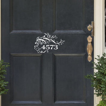 Address Number Door Decal - Vines and Flourishes Vinyl Decal - House Number Door Decal - Front Door Decor 22535