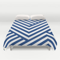 Blue and White Stripes Duvet Cover by Liv B
