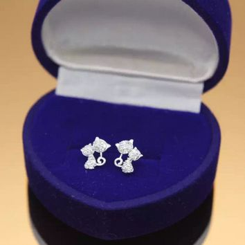 Super adorable big cat and small cat 925 sterling silver zircon earrings, a perfect gift