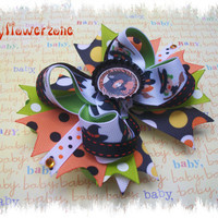 Halloween Hair Bows - Layered Halloween Boutique Hair bows - Halloween Stacked Hair Bows - Pigtails Hair Bows - Witch Bottle cap Hair Bows
