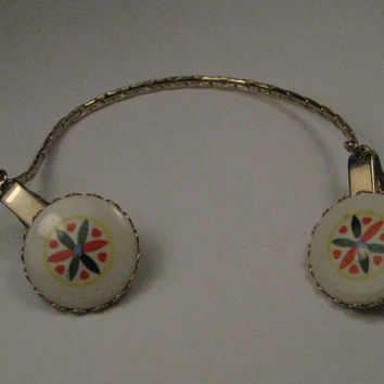 Vintage Sweater Guard/Clip with Round Hex Sign Ceramic Accents, late 1950's-1960's