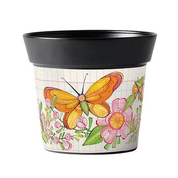 "Flower Pot from Studio M. Butterfly Flight 6"" Art Pot"