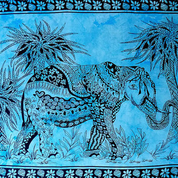 TWIN turquoise cotton indian elephant tapestry wall hanging bedspread bed cover throw bohemian boho tree of life ethnic home decor