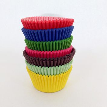 100pcs/lot Pink Blue Red Yellow Green Purple Paper Cupcake Liners Mold Muffin Cases Cake Cup Bakeware Baking Tools Cake Mold